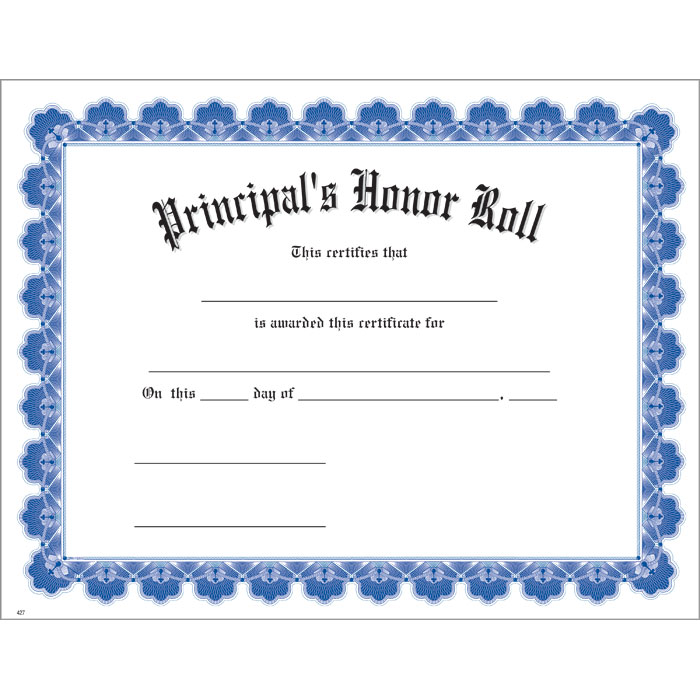 Honor roll certificate template 28 images honor roll for Principals list certificate template