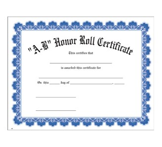 A b honor roll blue uw certificate jones school supply for A b honor roll certificate template
