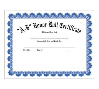 A b honor roll blue uw certificate jones school supply for A b honor roll certificate template
