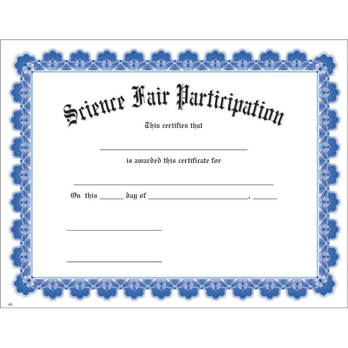 Science fair participation blue uw certificate jones school supply for Science fair certificate
