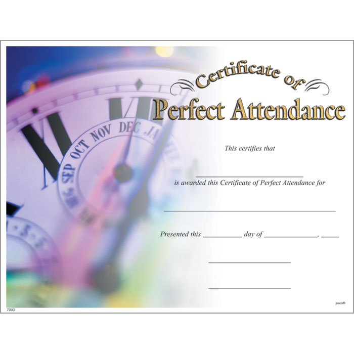 Perfect Attendance Certificate Template Perfect Attendance Certificate Jones School Supply