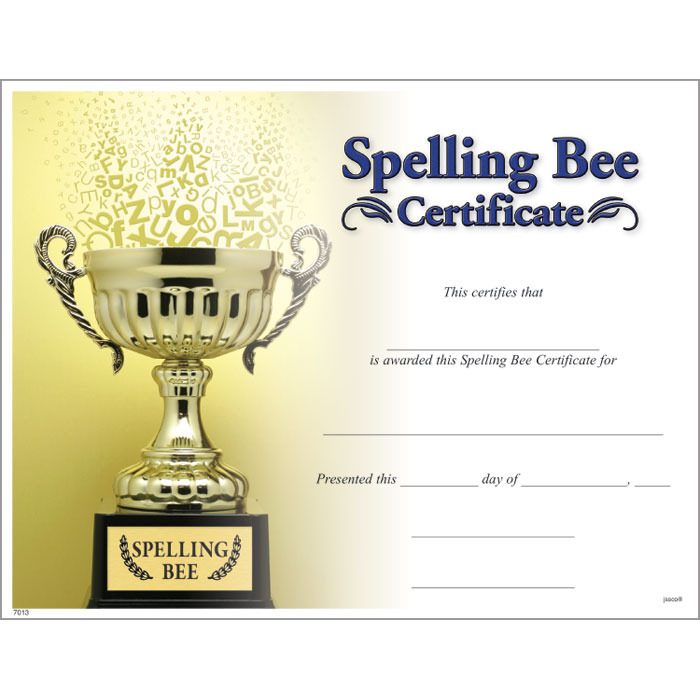 Spelling bee certificate jones school supply spelling bee certificate yelopaper