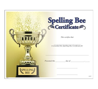 Spelling bee certificate jones school supply enlarge yadclub Gallery