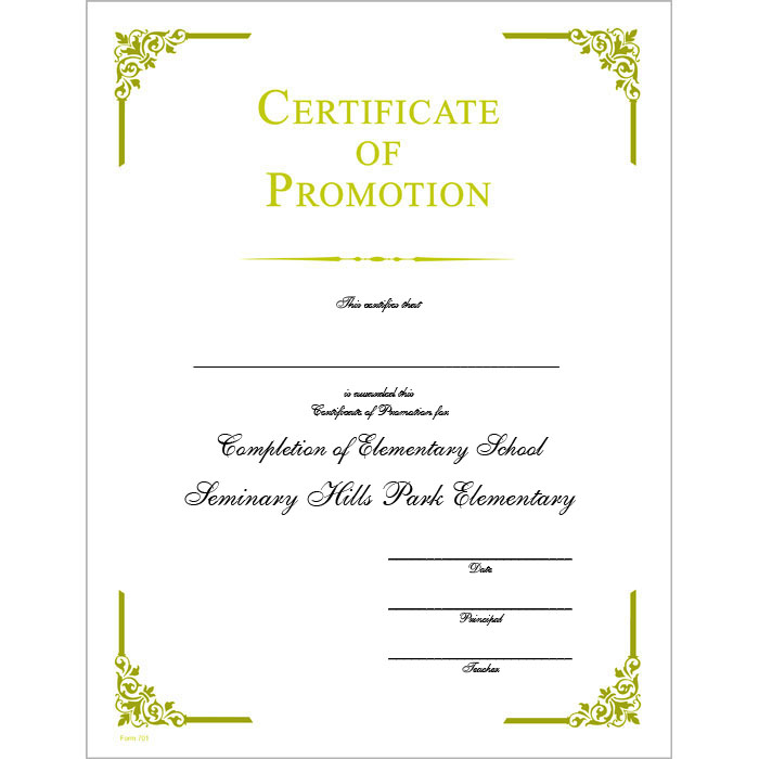 Certificate Of Promotion Template Mandegarfo
