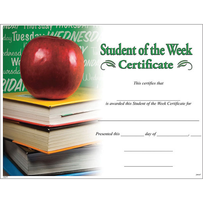 Student Of The Week Certificate Jones School Supply