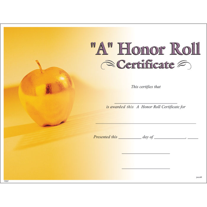 A honor roll certificate jones school supply a honor roll certificate yadclub Gallery