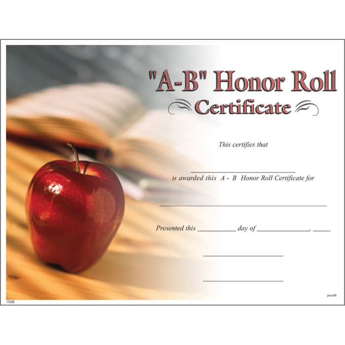 a b honor roll certificate