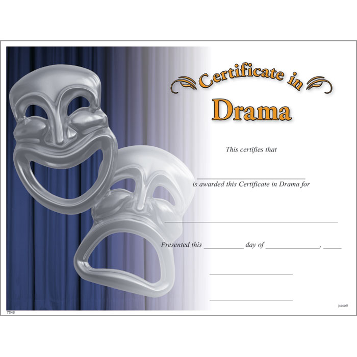 Drama certificate jones school supply drama certificate yelopaper Gallery