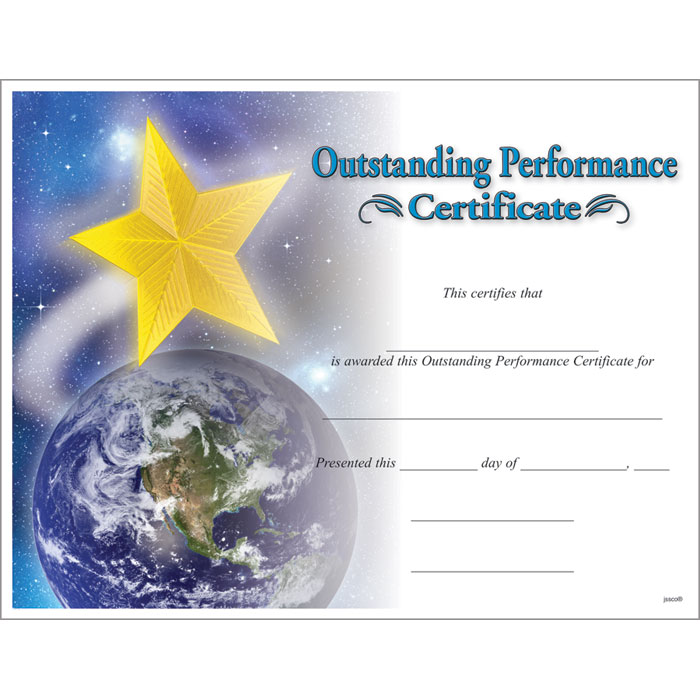Outstanding Performance Certificate  Jones School Supply