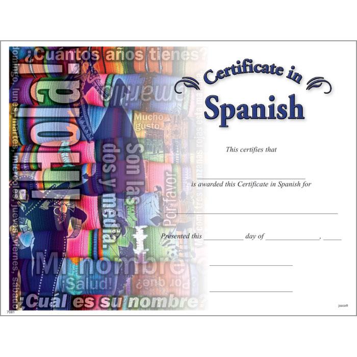 Spanish Certificate Jones School Supply