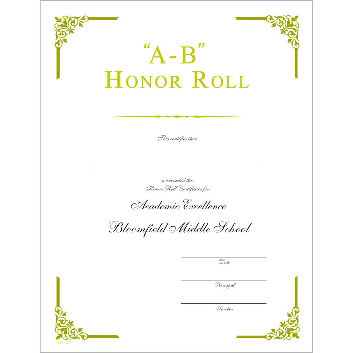 Ab honor roll certificate jones school supply for A b honor roll certificate template
