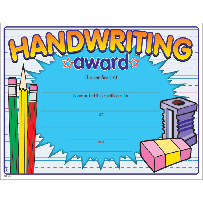 handwriting award certificate jones school supply