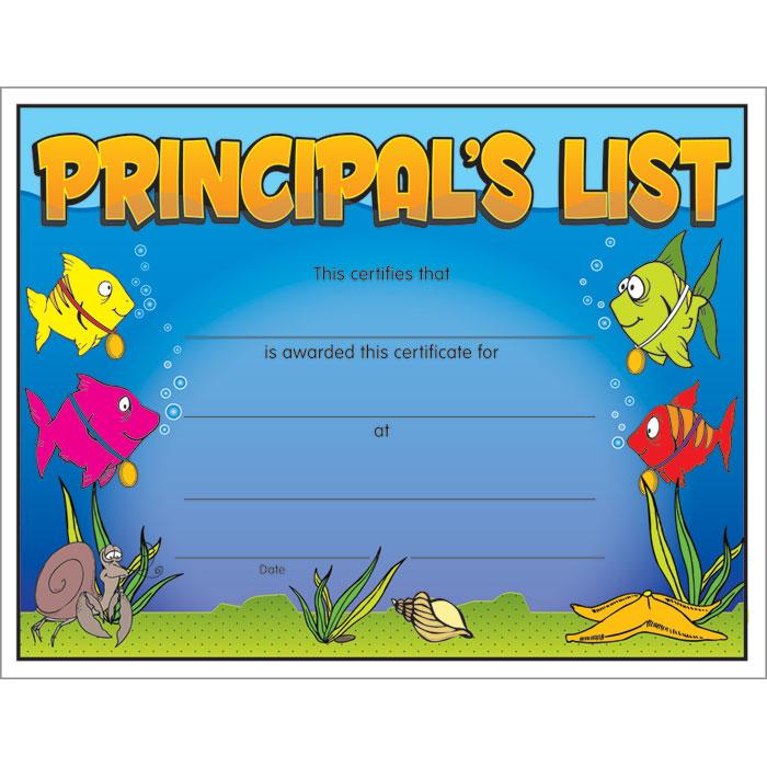 Principal39s list certificate jones school supply for Principal s list award