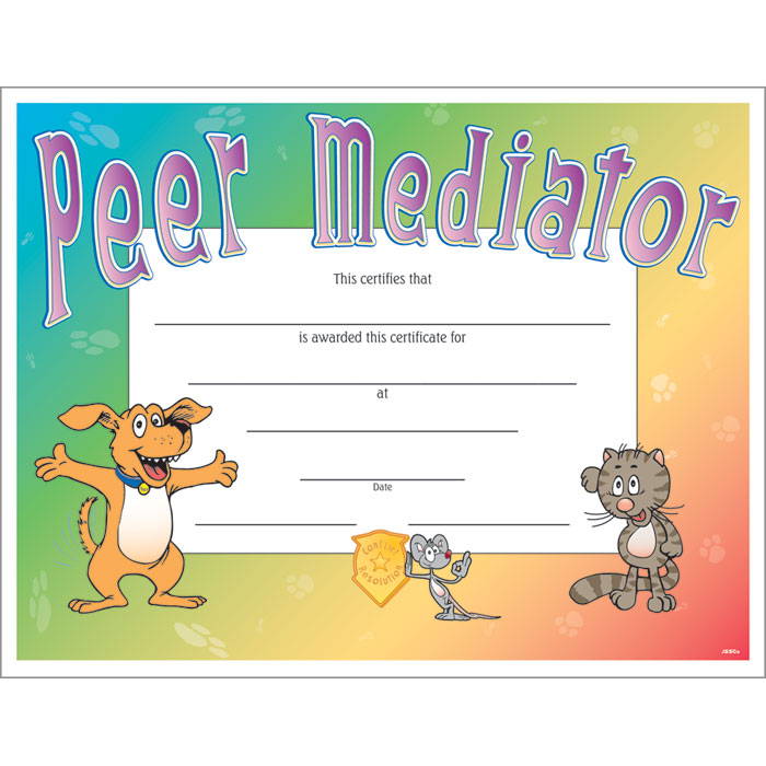 Peer mediator colorful certificate jones school supply enlarge yadclub Gallery