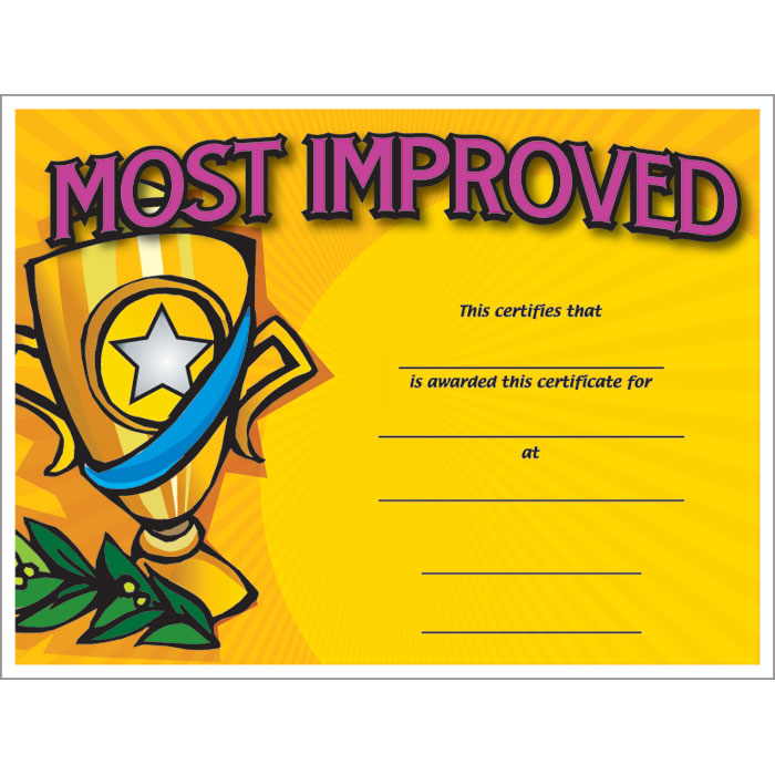 Most improved colorful certificate jones school supply for Most improved certificate template