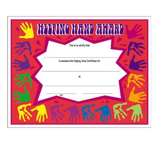 Helping hand colorful certificate jones school supply enlarge yelopaper Gallery