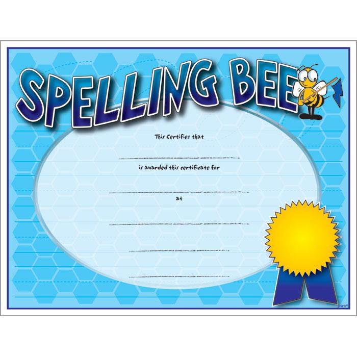Spelling Bee Colorful Certificate Jones School Supply