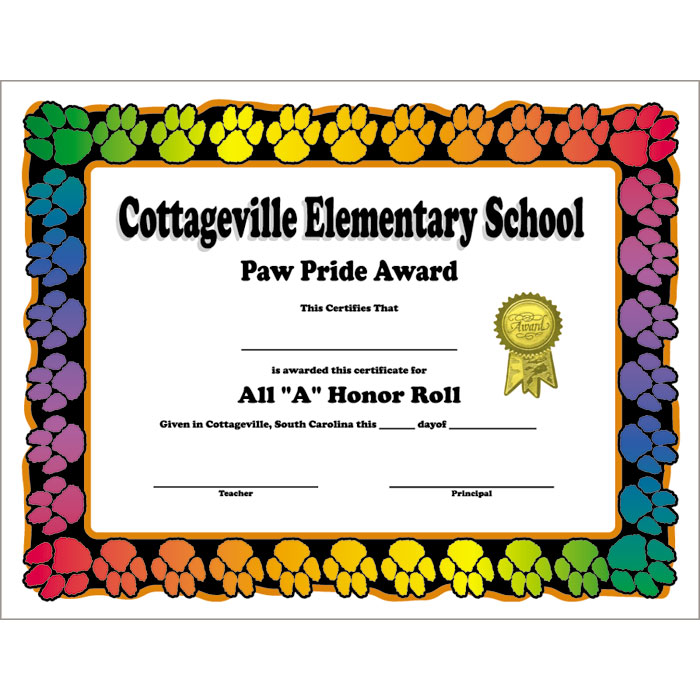 Paw print border custom certificate jones school supply enlarge yadclub Gallery