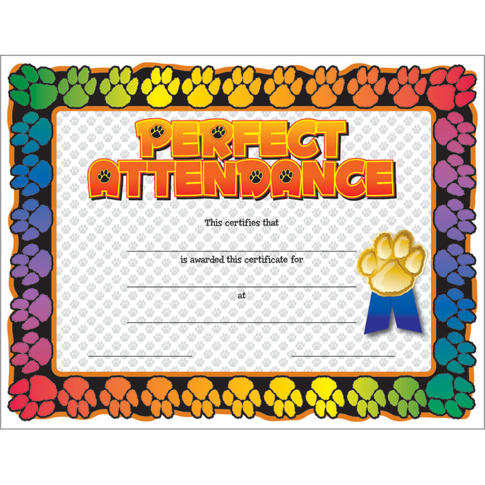 paw perfect attendance certificate jones school supply