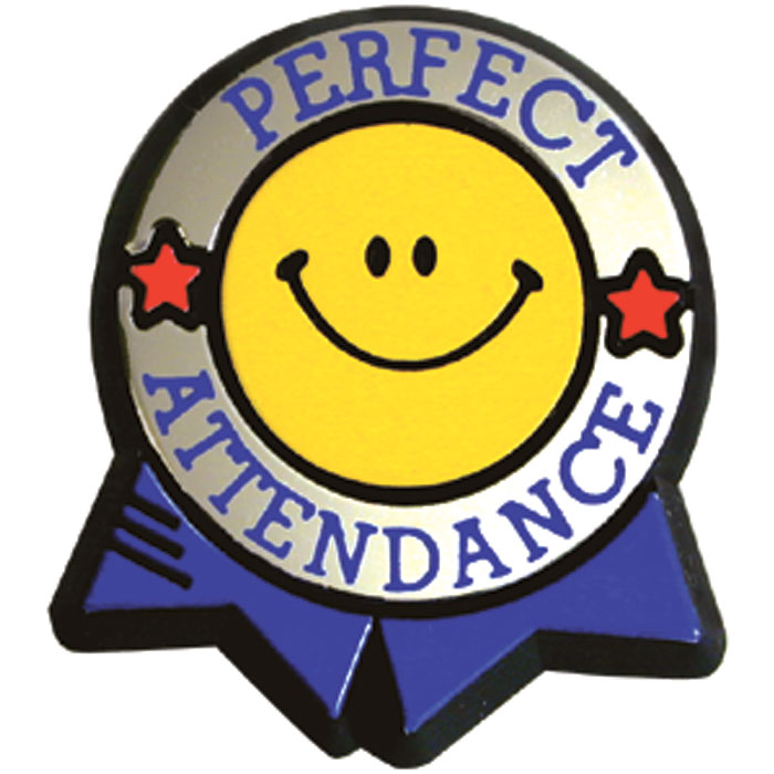 Perfect Attendance Colorful Pin