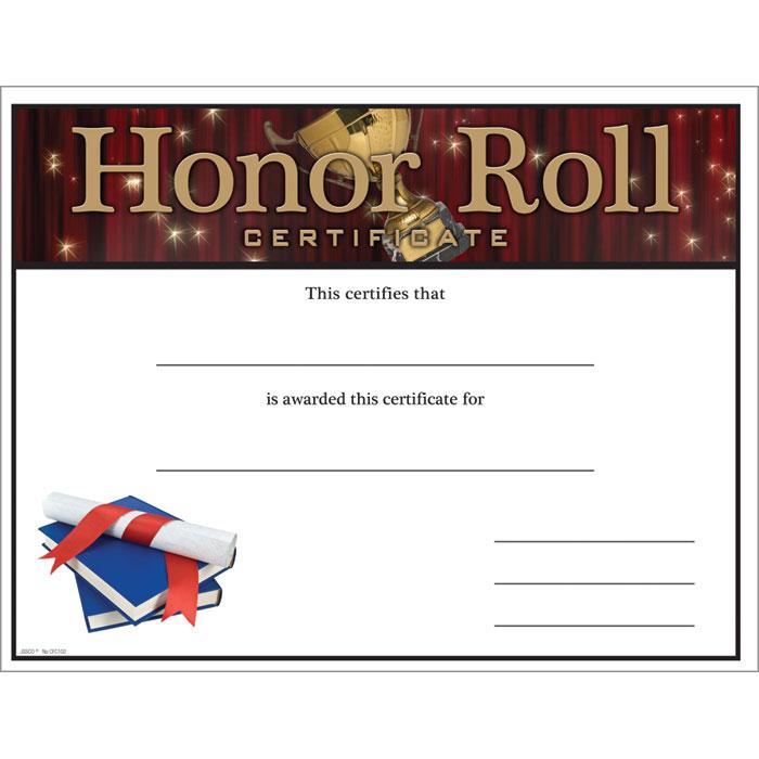 Honor Roll Certificate - Jones School Supply
