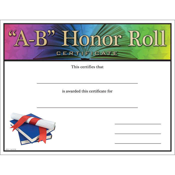A b honor roll certificate jones school supply enlarge yelopaper Choice Image