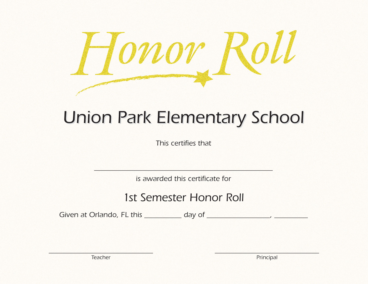 Honor Roll Custom Certificate Jones School Supply