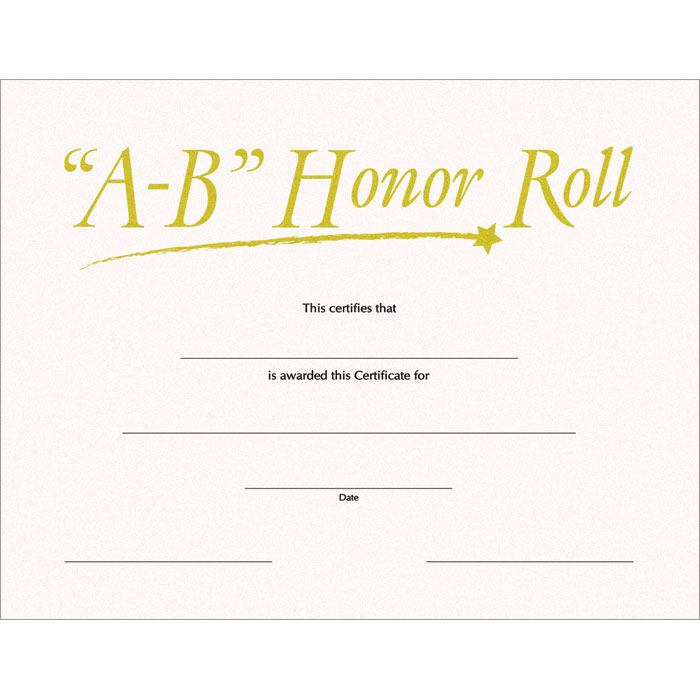 Honor roll certificates template free yadclub Image collections
