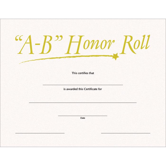 A B Honor Roll Sw Certificate Jones School Supply